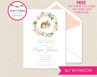 Bunny Baby Shower, Watercolor Floral Baby Shower, Bunny Invitation, Watercolor Bunny Invitation, Watercolor Invitation, Lauren Haddox Design