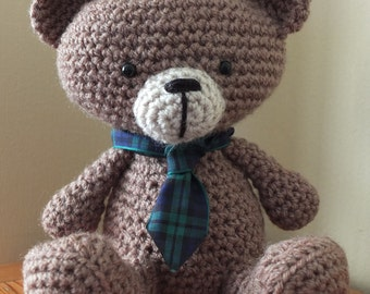 Rabbie Bearns Crochet Teddy Bear by Little Gems Crochet - Robert Burns Bear - Scotland / Scottish - New Years - Burns Night
