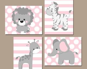 Baby Girl Nursery Wall Art, Pink Gray Nursery Decor, Elephant Giraffe Zebra Lion, Girl Safari Animals Decor, Canvas or Print, Set of 4