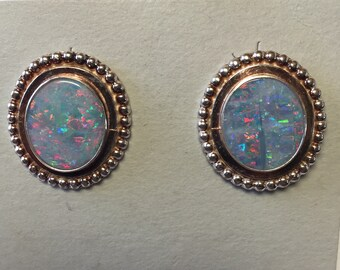 Australian Opal Doublet Earrings set in Sterling Silver/Posts