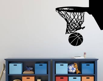 Basketball Wall Decal - Sports Decal - Basketball Hoop Wall Decal - Basketball Wall Decor Art - Basketball Hoop - Kids Vinyl Wall Decal