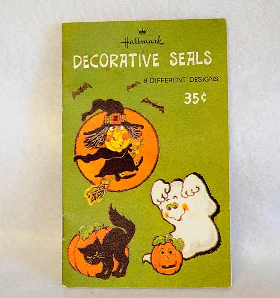 Vintage Hallmark Halloween Seals Stickers.. 1960s-70s.. Witch, Ghost, Scarecrow, Bat, Etc.
