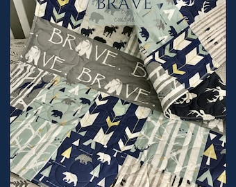 Baby Quilt Deer, Baby Bedding Moose, Woodland Crib Bedding, Woodland Baby Blanket, Navy Gray Mint Nursery, Baby Bedding Boy, Brave Quilt