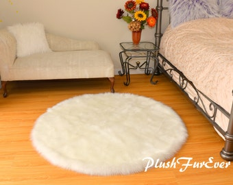 Plush Shaggy Premium Shag Faux Fur Round Area Rug White Sheepskin Luxury Home Decor Accent Flokati Pet Beds