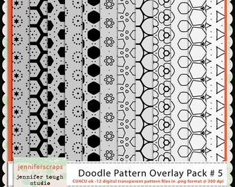 Instant Download - Set of 12 digital paper overlays/templates - Doodle patterns overlay set 5 - CU4CU ok