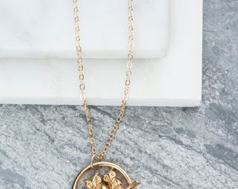 Vintage Gold Owls Necklace, Two Tiny Birds Necklace, Owl Jewelry, Owls Pendant, Eco Friendly, Mother and Child, Daughter, Son