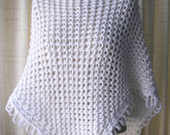 CELEBRATION Hand Knit Wrap Chunky Soft  Sparkle SHAWL in WHITE/ Thoughtful Gift / Ready to Ship