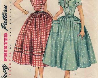 1950s Simplicity 4641 Vintage Sewing Pattern Misses Full Skirt Dress, Party Dress, Shirtwaist Dress Size 14 Bust 32, Size 20 Bust 38