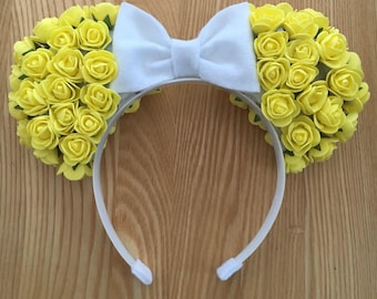 Belle Floral Minnie Ears (Yellow)
