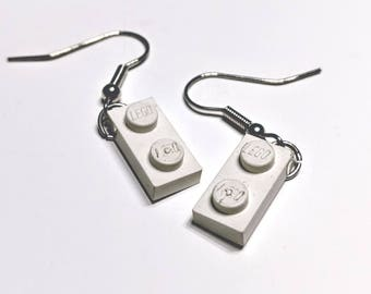 Lego Earrings - 1 x 2 White Plate
