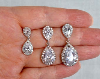 Handmade Classic Cubic Zirconia CZ Small, Medium or Large Teardrop Dangle Bridal Earrings, Bridal, Wedding (Sparkle-2795)