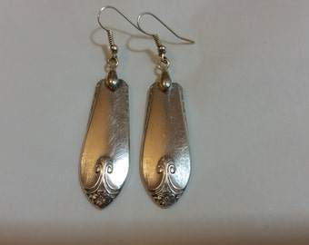 Silverware Earrings Spoon jewelry Vintage Recycled Silver plated spoon earrings 1940s larger-size fork earrings unique hostess gift boxed