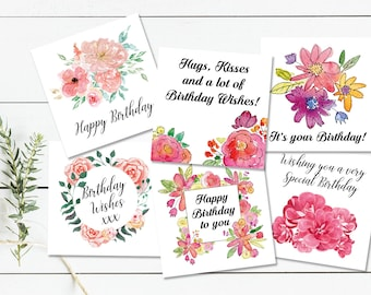 Assorted Floral Pink Birthday Card Pack