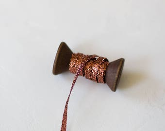 "Copper Braided Metallic Ribbon (with Wooden Spool) - 10 yards - 1/8"" wide"