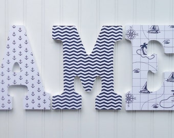 Wall Letters, Nursery  Wall Decor, Wooden Letters, Custom Name, Navy Blue and White Nautical Patterns, Hanging letters