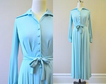1970s Aqua Maxi Dress