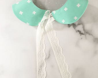 Mint/grey Peter Pan collar