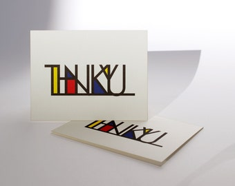 Modern Thank You Card Set of 8 Folded Cards with Envelopes