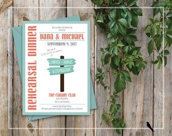 Fun Printable Rehearsal Dinner Invitation - Wedding Rehearsal Dinner Invitation - Fun Sign Post Invitation - Custom Colors