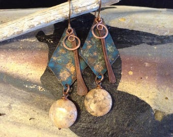 Copper Earrings with Agate Stone!