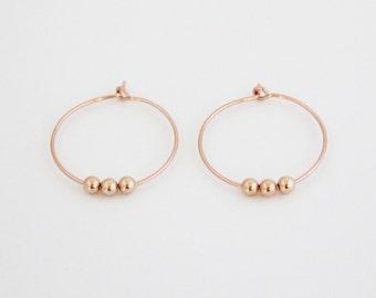 Rose gold filled beaded hoop earrings