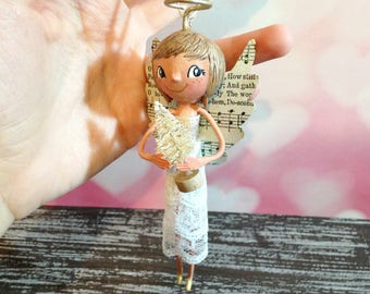 Joyful Angel Ornament - OOAK