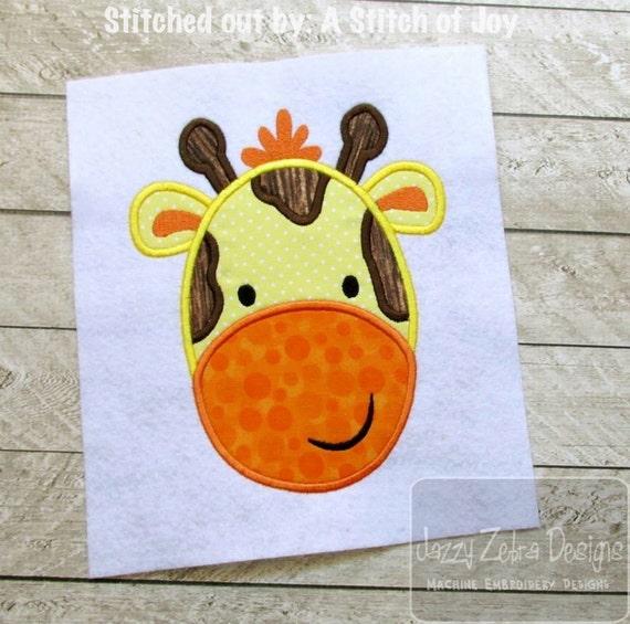 Giraffe Applique Embroidery Design - zoo appliqué design - safari appliqué design - baby appliqué design - giraffe appliqué design