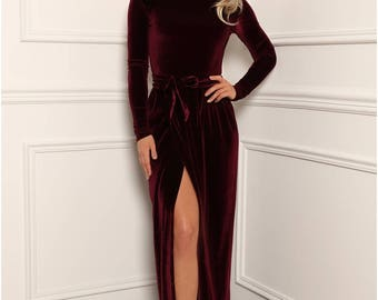 Bridesmaid Velvet Maxi Dress/ Round Neck Deep Open Back Long Sleeves Dress/ With High Slit Sash Waistband