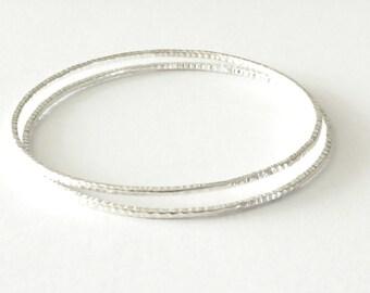 A Pair of Handmade Hammered Textured Sterling Silver Bangle Bracelet, 2 Skinny Hammered Silver Bohemian Stacking Bangles,Slim Bracelets