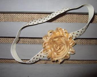 Gold Floral Headband with Metallic Gold Polka Dot Detail for Baby