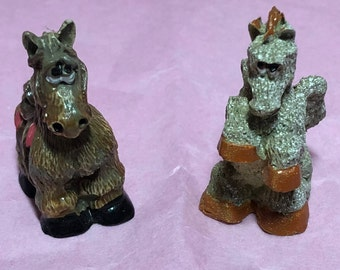 Vintage Hand Carved - Hand Painted Mini Horse and Mini Pegasus Figures