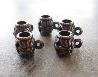 5 Antiqued copper pewter beads, 10x8mm cylinder with loop and flower design-JD145
