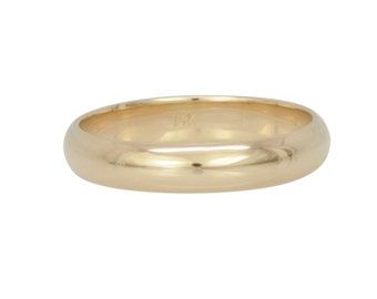 14K Yellow Gold Half Round Wedding Band, 4x1.5mm, Sea Babe Jewelry