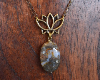 Ocean Jasper Lotus necklace