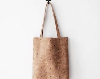 Studded Beige Leather Tote bag, polka dots bag, studs, nude bag, beige leather bag, school bag, macbook case