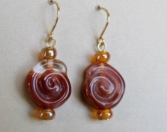 Swirl-solid 14k gold Czech glass earrings