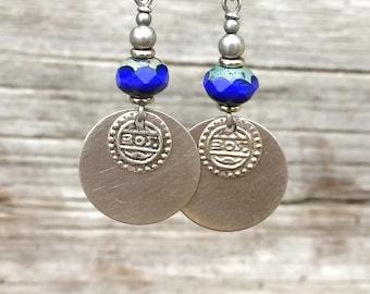 Boho Earrings Silver Dangle Earrings Boho Jewelry Bohemian Jewelry Blue Earrings Ethnic Silver Jewelry Ethnic Earrings Blue Jewelry