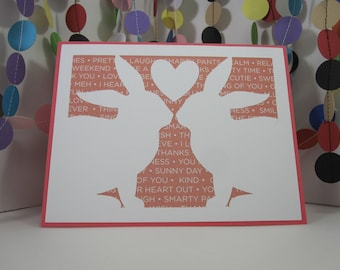 Bunny Love Card - pink white - anniversary - wedding - any occasion - bunny lover - donation card