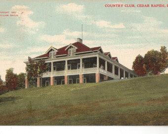 Vintage Postcard, Cedar Rapids, Iowa, Golf Country Club, 1908