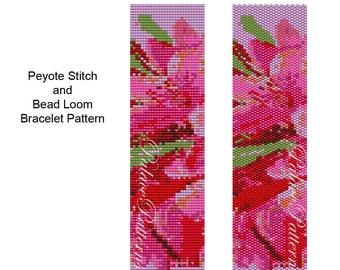 Bracelet PATTERN for Bead Loom or Peyote Stitch - Gladiolus - Bead Loom or Peyote Stitch Bracelet Pattern