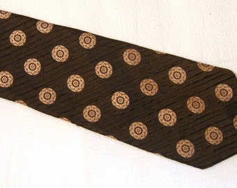Vintage Men's Pierre Cardin Necktie - Made in France - Brown and Gold Tie