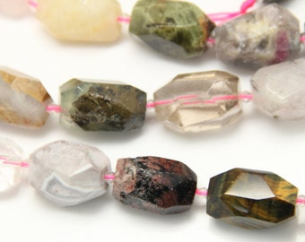 Mix Stone Beads, Natural Gemstone Nugget Faceted Beads, 20-28mm Big Semi Precious Beads 15''