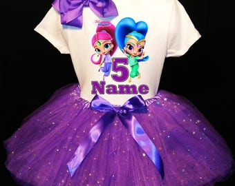 Shimmer & Shine***With NAME*** 5th fifth 5  Birthday  Purple Tutu Dress  Fast Shipping party Shirt Personalized