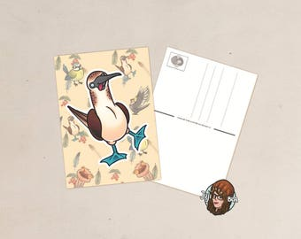 Card-postcard-A6-Derpy boobie/blue-footed Booby