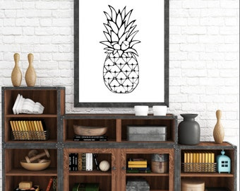 Tropical Print, Pineapple Print, Pineapple Art, Black and White, Fruit Print, Pineapple Wall Art, Printable Wall Art, Instant Download