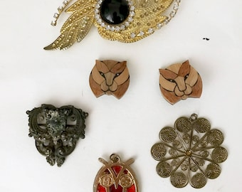 Assorted Lot of Vintage Jewelry and Craft Pieces