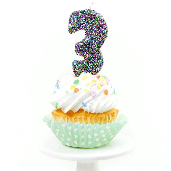 """3"""" Number 3 Candle, Giant 3 Candle, Large Mardi Gras Candle Mermaid Birthday Giant Glitter Candle Marti Gra Party Multi-Colored Glitter"""