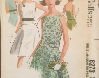 1960's Sleeveless Two-Piece Dress Vintage Sewing Pattern McCall's 6273 Bust 34