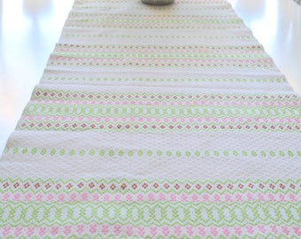 Large table runner, woven pastel stripes, vintage Swedish linen / flax home decor, Green and Pink farmhouse tablerunner