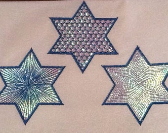 3 Jewish Stars of David Machine Embroidery Designs to stitch with Mylar (or plain) - Instant Download